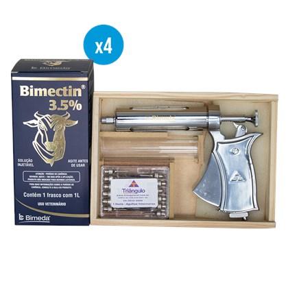 4 Bimectin Ivermectina 3,5% 1 litro - – Ganhe 1 aplicador 50ml